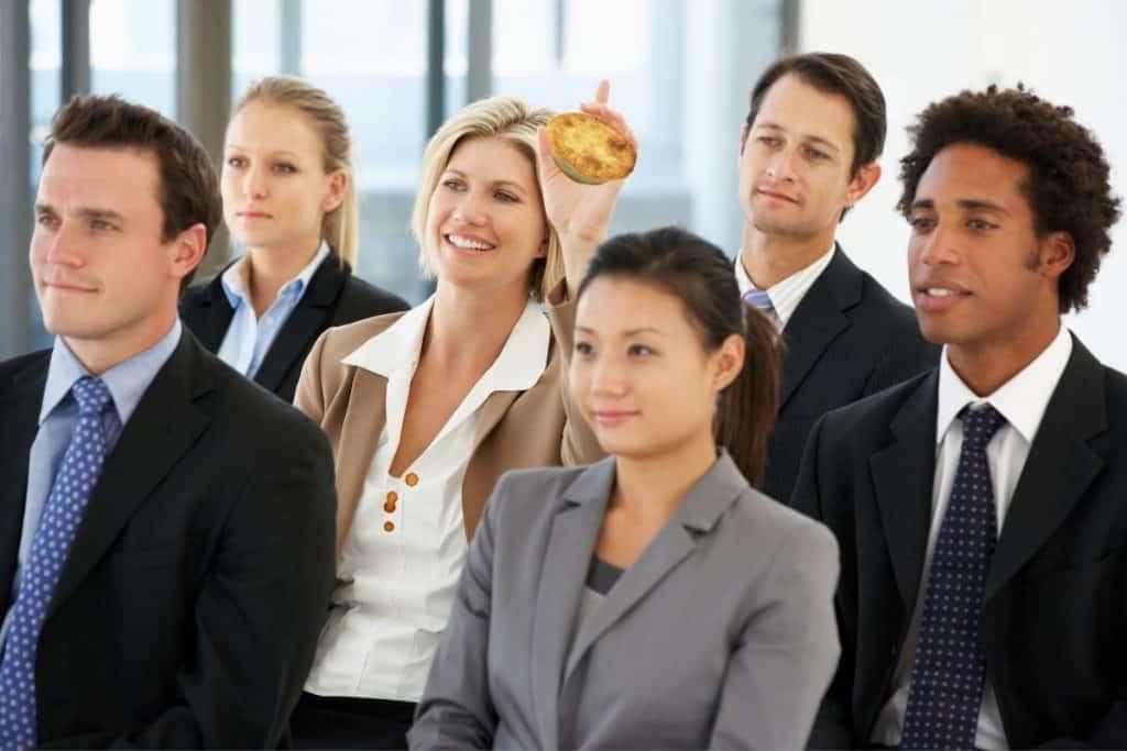 Business Woman Meeting Pie